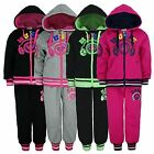 GIRLS MUSIC PRINT TRACKSUIT KID JOGGING BOTTOM HOODED ZIP TOP 2 PIECE SUIT 3-14Y