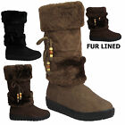 LADIES WOMENS LACE BEAD FUR LINED WINTER SNOW FLAT HEEL BOOTS SHOES UK SIZES 3-8
