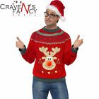 Smiffys Christmas Jumper Rudolph Reindeer with LED Lights Up Day Xmas Novelty