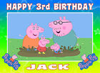 EDIBLE ICING PEPPA PIG GEORGE PIG HAPPY BIRTHDAY NAME AGE CAKE CUPCAKE TOPPERS