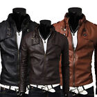 Tops Stand Collar Slim synthetic leather Short Jacket Coat Zipper Outwear Men