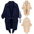 Women Asymmetric Hem Open Front Button Tab Sleeves Lapel Blazer Cardigan Top