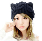 New Women Devil horns Cat Ear Crochet Braided Knit Ski Beanie Wool Hat Cap