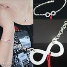 Sterling Silver 925 Set Infinity Symbol Bracelet Nacklace Red String of LOVE HIT