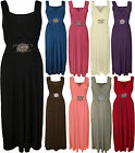 New Womens Plus Size V Neck Buckle Ladies Sleeveless Long Maxi Party Dress 16-26