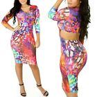 LADIES Pink Splashed Patterned Print Bodycon Dress Cut-Out Back Multi Color