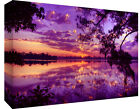 Purple Tones Sunset at Lake - Cotton Canvas Wall Art Picture Print- ALL SIZES
