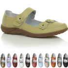 Womens ladies leather comfort walking casual sandals mary jane strap shoes size