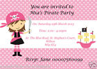 12 PERSONALISED PIRATE GIRL PARTY INVITATIONS - DIFFERENT DESIGNS