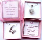 Bridesmaid Flower Girl Necklaces Wedding Favour Gifts in Personalised Gift Box