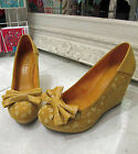 Marco Tozzi Yellow Mustard Floral Bow Wedge Heel Shoe Platform Vintage New