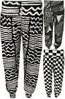 New Womens Black White Aztec Striped Harem Pants Ladies Long Full Trousers