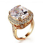 Rose Gold Plated Swarovski Crystal Lab Diamond Women Wedding Cocktail Ring R187