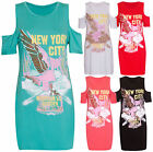 Womens New York City Eagle Printed Ladies Shoulder Cut Out Stretch T-shirt Top