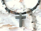 Magnetic PIETERSITE Holy Cross Pendant Mens Womens Healing Circulation Necklace