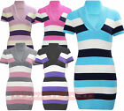 W53 NEW WOMENS LADIES KNITTED STRIPED V-NECK PLUS JUMPER MATERNITY DRESS 08-22