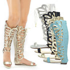 Womens Open Toe Lace Up Cut Out Gladiator Mid Calf Knee High Flat Sandal US 5-11