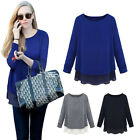 Spring New Women Casual Office Long Sleeve Layered Knit Chiffon Pullover Jumper