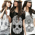 2014 Summer New Women's Casual Skull Print Lace Short Sleeve Crew Neck Tee Top