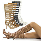 Women Pointy Toe Knee Strappy Stud Gladiator Stiletto High Heel Pump Sandal Boot