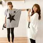 Fashion Women Star Batwing Blouse Tops T-Shirt Dolman Short Sleeve Shirt Q690