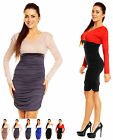 Sexy Stretchy Bodycon Ruched V Neck Dress Long Sleeve Sizes UK 10-18 886a