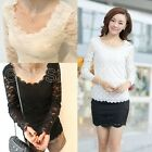 Fashion Sexy Women Long Sleeve Lace Wavy Bottoming T-Shirt Blouse Shirt Tops