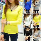 Women's Patch V-Neck Slim Long Sleeve Casual Career Tops Blouse T-shirt 5 Colors