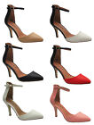 New Ladies Stiletto High Heel Ankle Strap Buckle Party Sandals Shoes Size UK 3-8