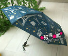 AUTO Open & Close SILVER COATED ANTI-UV Umbrella Statue of Liberty Eiffel Tower