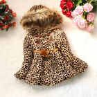 Saucy Kids Girls Faux Fur Leopard Hoodies Coat Kids Winter Warm Jacket Snowsuit