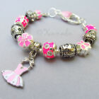 Pink Love To Dance European Charm Bracelet With Ballet Tutu Dress And Music Bead