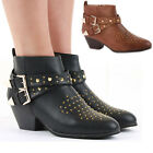 Ladies Retro Low Heel Shoes Short Booties Mid Winter Ankle Boots Size