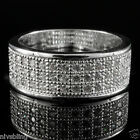 mens cz ring - 18K White Gold Iced Out BAND HipHop Engagement MICROPAVE CZ Pinky Men Women Ring