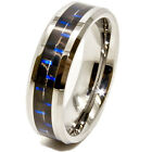 6mm Tungsten Carbide Black & Blue Carbon Fiber Inlay Wedding Band Sizes 4-16