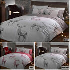 Highland Stag Check Duvet Quilt Cover Bedding Set + Pillowcases in 3 Colours