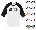 State of New Jersey College Letter Team Name Raglan Baseball Jersey T-shirt