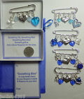 Something Blue Lucky Bridal Brooch Pin Charm Garter or Bouquet and Sixpence Coin