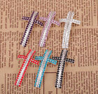 1x  Silver Plated Crystal Cross Curved Connectors For Wedding Bracelet