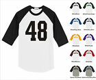 Number #48 Forty Eight Sports Raglan Baseball Jersey T-shirt Front Print