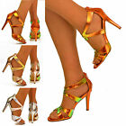 NEW Ladies Mid Heel Strappy Hologram Metalic Iridescent Shoes Dress Sandals Size
