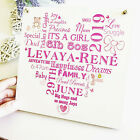 New Baby Wooden Personalised Plaque Girl Boy Sign Keepsake Typography Gift W107