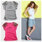 Women Lady Girls Shirt T-Shirt Summer Paillette Rhinestone Pink Gray White S M L