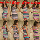 Ladies Retro 4 Color Aztec Print Celeb Inspired Tank Dress Bodycon @N115