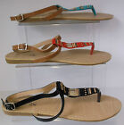 Ladies Spot On Beaded Toe Post Sandals Red/ Turquoise/Black  F0680