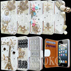 New 3D Diamond Crystal Bling Leather Wallet Case Flip Cover for iphone / Samsung