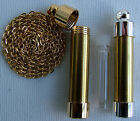 BEADABLE PERFUME HOLDER PENDANT WITH CHAIN GOLD OR CHROME PLATED