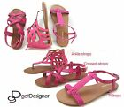 NEW Women's Fashion Summer SandalsShoes Flats Pink Fuchsia Cute Casual Strappy