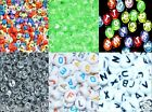 100pcs flat round 7mm alphabe/ letter & numbers acrylic mixed beads