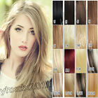 AAA full head top quality clip in human hair extensions black brown blonde red